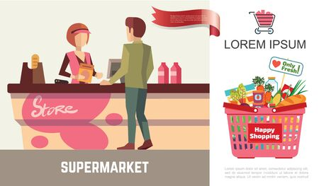 Flat shopping in supermarket concept with cashier at cash register customer and basket full of different products vector illustration
