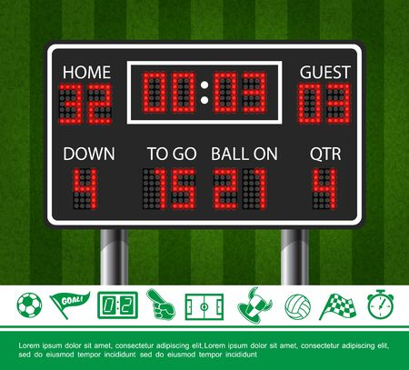 Colorful sport concept with american football scoreboard on green field background and soccer icons vector illustration Çizim