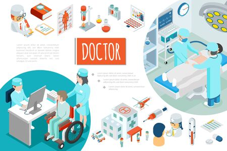 Isometric medicine composition with medical staff surgery tubes flasks hospital helicopter patients thermometer pills vector illustration Ilustração