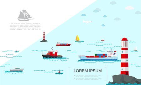 Flat sea transport colorful template with cargo ship vessel yachts ferry boat speedboats buoys lighthouses vector illustration Ilustração