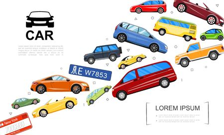 Modern cars template with colorful automobiles of different types in flat style vector illustration Illusztráció