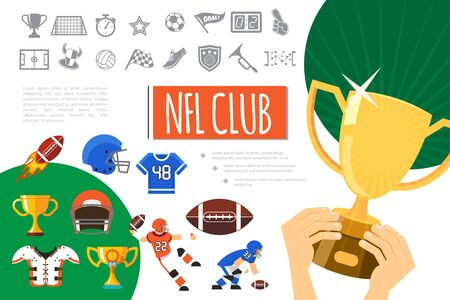 Flat american football elements composition with players uniform trophies ball helmets soccer monochrome icons and hands holding cup vector illustration