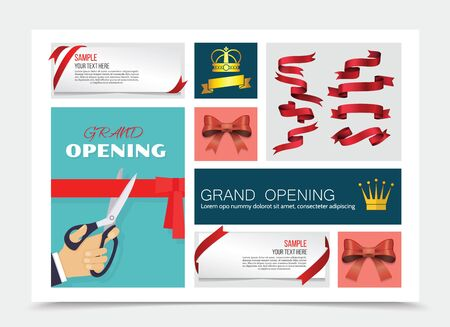 Grand opening and gifts decoration composition with male hand with scissors cutting ribbon crowns web banners red glossy ribbons and bows vector illustration