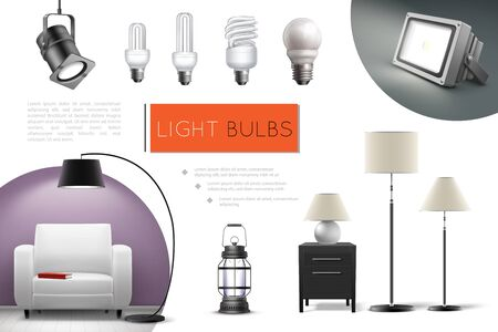 Realistic lamps and bulbs composition with spotlights floor lamps lantern led and fluorescent lightbulbs vector illustration