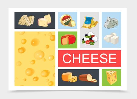 Cartoon natural cheese composition with dorblu danablu raclette grano padano feta maasdam mozzarella gouda smoked sorts and realistic cheese texture vector illustration Иллюстрация