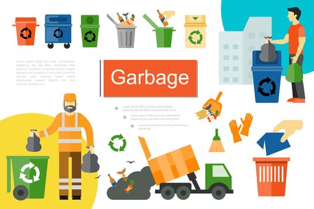 Flat garbage elements composition with recycle bins different kinds of waste products garbage truck sanitation worker and man taking out trash vector illustration