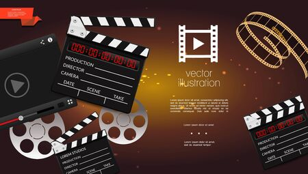Realistic cinema light background with clapperboard video player film strip and reels vector illustration
