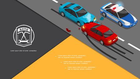 Isometric car accident composition with automobiles collision and police car on road vector illustration