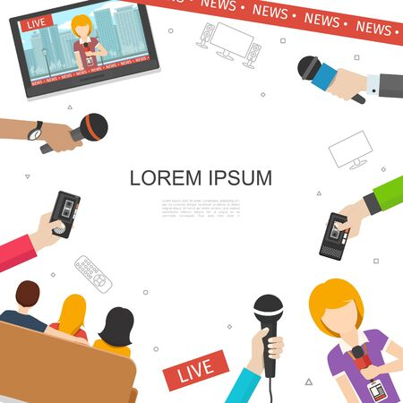 Flat TV news colorful concept with reporter people watching news on television male and female hands holding microphones and dictaphone vector illustration