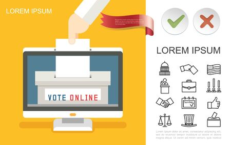 Flat online voting concept with male hand putting paper ballot into monitor vote box and election linear icons vector illustration