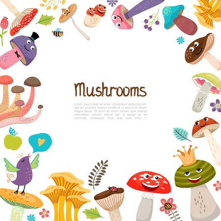 Flat cute forest mushrooms template with faces beautiful flowers leaves berries singing bird ladybug bee vector illustration
