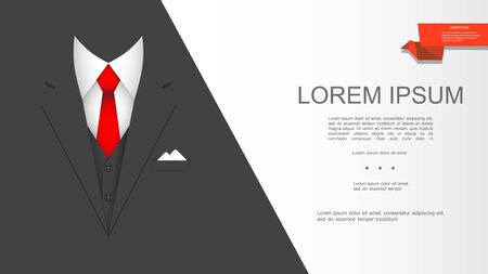 Modern realistic elegant suit composition with black jacket red tie white shirt and handkerchief vector illustration