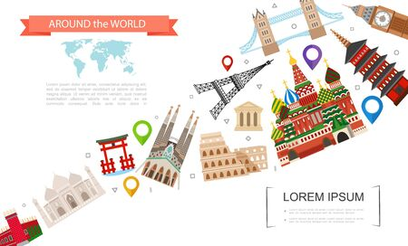 Flat world travel template with Big Ben Eiffel Tower Bridge Kremlin Colosseum Taj Mahal Parthenon Chinese Gate and Japanese Pagoda vector illustration Иллюстрация