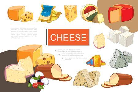 Cartoon cheese colorful composition with mozzarella cheddar gouda feta grano padano raclette maasdam dorblu danablu smoked cheese sorts vector illustration Иллюстрация