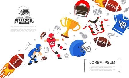 Flat colorful rugby template with players shirt helmets armor cup american football balls and soccer icons vector illustration