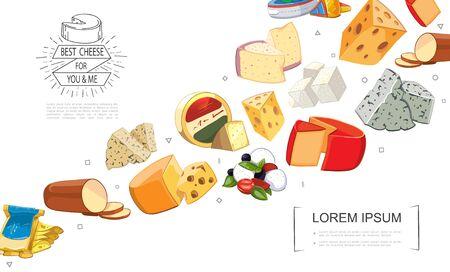 Cartoon fresh cheese sorts template with gouda dorblu grano padano raclette danablu maasdam mozzarella cheddar feta smoked cheese vector illustration Иллюстрация