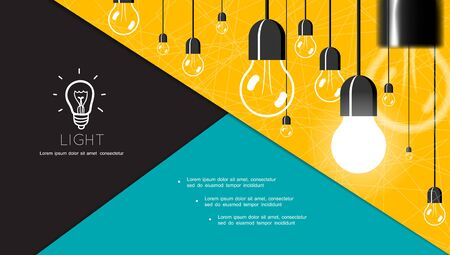 Flat energy and lighting composition with hanging incandescent bulbs on yellow background vector illustration