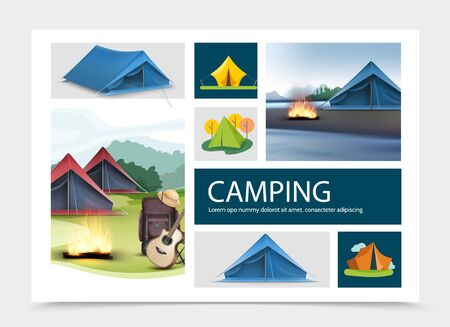 Camping elements composition with realistic and flat tents guitar pith hat campfire backpack nature landscapes vector illustration