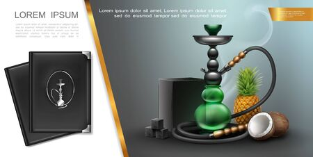 Realistic hookah lounge elements concept with shisha charcoal box and cubes pineapple coconut menu covers vector illustration Иллюстрация