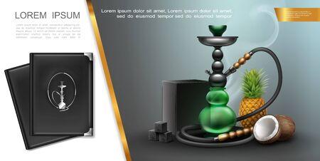 Realistic hookah lounge elements concept with shisha charcoal box and cubes pineapple coconut menu covers vector illustration Ilustração