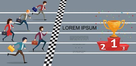 Flat business competition concept with businessmen and businesswoman running to gold cup on red podium vector illustration