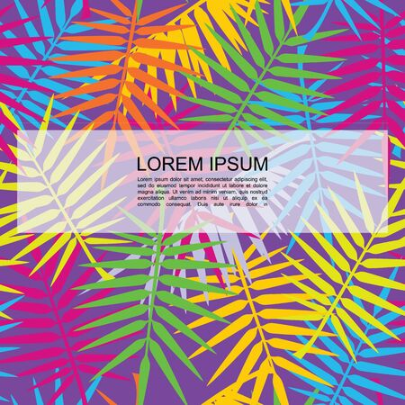 Flat exotic floral seamless pattern with colorful tropical palm leaves and branches vector illustration Vetores
