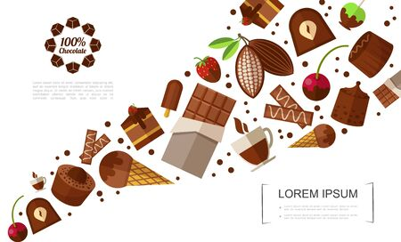 Flat sweet products template with chocolate bars candies ice cream cakes berries coffee cup cocoa beans vector illustration Illustration