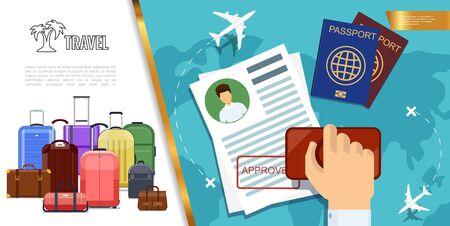 Flat travel colorful concept with luggage bags customs officer hand holding stamp passports and flying airplanes over world map vector illustration