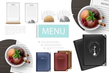 Realistic cafe menu composition with menu covers cards plate of ice cream scoops napkins with wooden and metal holders vector illustration
