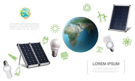Realistic save energy template with Earth planet solar panels lightbulbs electricity and energy green icons vector illustration