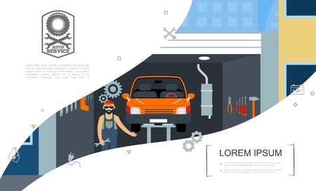 Flat car repair service concept with auto mechanic standing near automobile on lift equipment in garage vector illustration