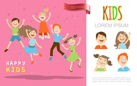 Flat happy cheerful children concept with funny jumping kids on pink background vector illustration Vettoriali