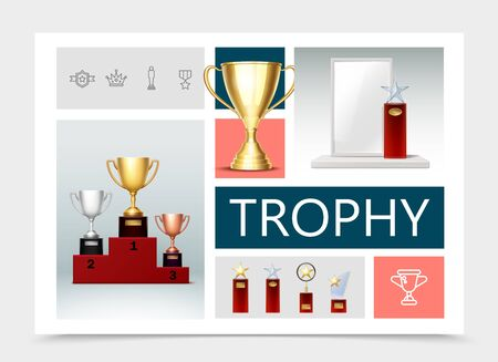 Realistic trophies composition with cups on pedestal prizes with shiny stars goblet medal crown badge linear icons vector illustration