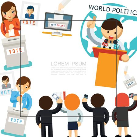 Flat election campaign template with candidate speaking in front of reporters and people