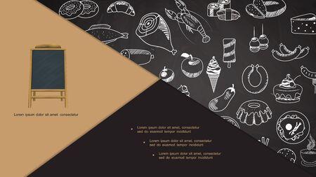 Hand drawn restaurant menu elements composition with menu announcement board