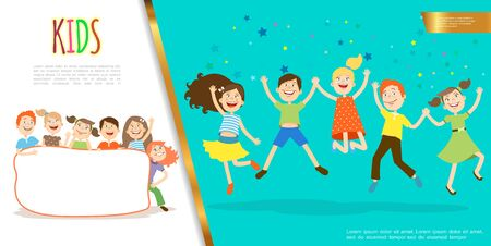 Flat happy kids concept with cute funny children holding blank frame