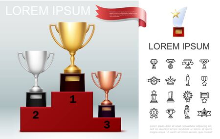 Realistic prizes concept with gold silver bronze cups on pedestal trophy with star awards and medals linear icons Vettoriali
