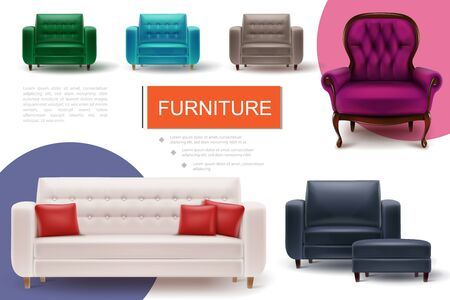 Realistic furniture elements composition with text soft colorful armchairs and sofa with pillows Vettoriali