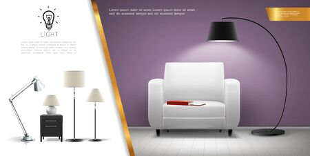 Realistic home lighting equipment concept with armchair shining floor and table lamps vector illustration