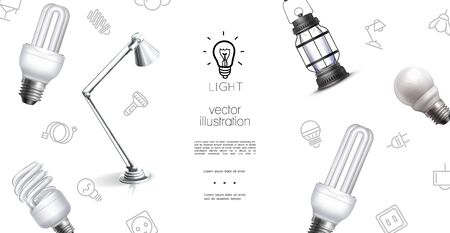 Realistic lighting objects template with lantern lamp bulbs and light equipment icons vector illustration