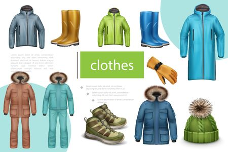 Winter and autumn male clothes composition with jacket sneakers rubber boots hat coat glove in realistic style vector illustration Vektoros illusztráció