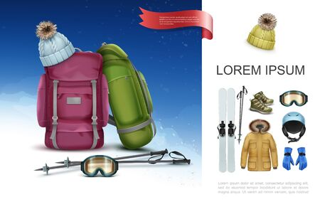Realistic ski clothes and equipment concept with backpacks skis poles knitted hat sneakers goggles helmet gloves jacket vector illustration