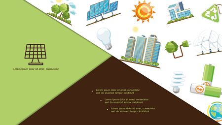 Flat energy save composition with solar panels eco house modern buildings batteries Earth planet lightbulbs wind turbines recycling sign plug sun trees vector illustration Vettoriali
