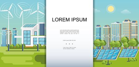 Flat eco city colorful template with modern buildings ecology houses wind turbines solar panels green trees vector illustration Vector Illustratie