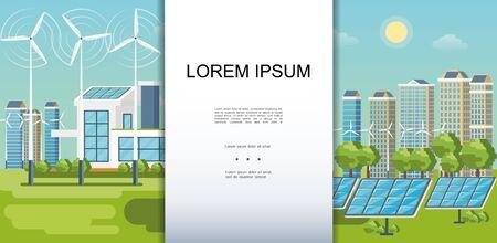 La plantilla colorida de la ciudad plana del eco con la ecología de los edificios modernos alberga la ilustración del vector de los árboles verdes de los paneles solares de las turbinas de viento Ilustración de vector