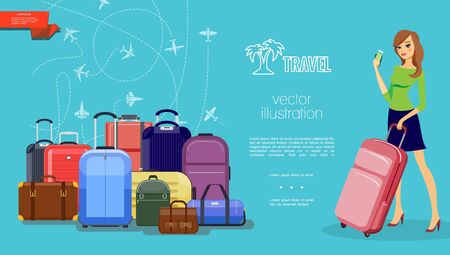 Flat travel colorful template with luggage baggage pretty woman holding bag and payment card flying airplanes on blue background vector illustration