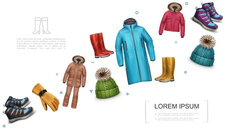Realistic winter and autumn clothes template with jacket trousers sneakers glove knitted cap rubber boots coat vector illustration Vettoriali