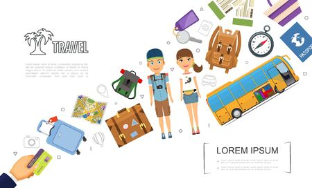 Flat travel elements template with tourists bus map bags backpack luggage passport compass map key tickets hand holding payment card vector illustration