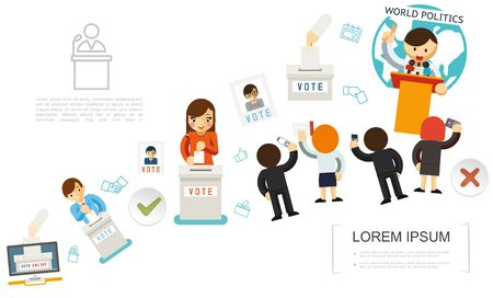 Flat voting elements template with buttons for online vote people putting paper ballots into election boxes candidate speech in front of reporters vector illustration