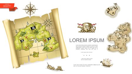 Colorful treasures background with pirate map emblem cannon compass wind rose sea monster ship uninhabited island vector illustration